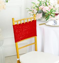 "7""x 13"" Sequin Spandex Chair Bands - Red 00112 (10pcs/pk)"