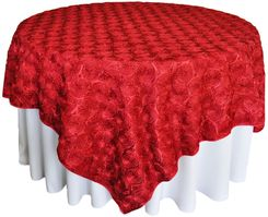 "72"" Rosette Satin Table Overlays - Apple Red 56708(1pc/pk)"