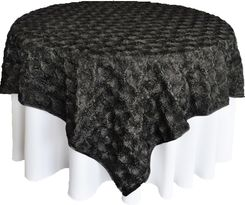 "72"" Rosette Satin Table Overlays - Black 56739 (1pc/pk)"