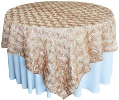 "72"" Rosette Satin Table Overlays - Champagne 56728(1pc/pk)"