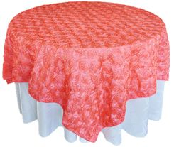 "72"" Rosette Satin Table Overlays - Coral 56706(1pc/pk)"
