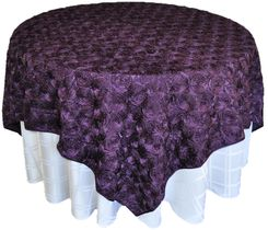 "72"" Rosette Satin Table Overlays - Eggplant 56745(1pc/pk)"