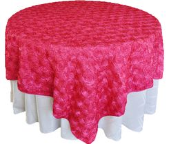 "72"" Rosette Satin Table Overlays - Fuchsia 56709(1pc/pk)"