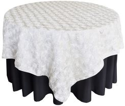 "72"" Rosette Satin Table Overlays - Ivory 56702(1pc/pk)"