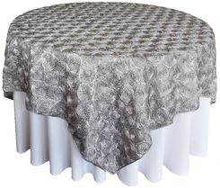 "72"" Rosette Satin Table Overlays - Silver 56740(1pc/pk)"