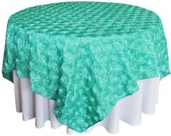 "72"" Rosette Satin Table Overlays - Tiff Blue / Aqua Blue 56718(1pc/pk)"