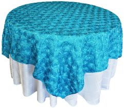 "72"" Rosette Satin Table Overlays - Turquoise 56785(1pc/pk)"