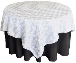 "72"" Rosette Satin Table Overlays - White 56701 (1pc/pk)"