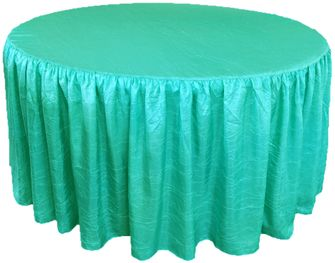 "72"" Round Fitted Crushed Taffeta Ruffled Tablecloth With Skirt (30 Colors)"