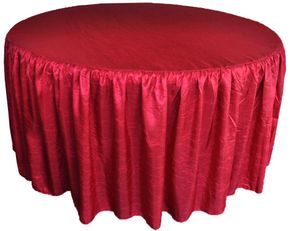 """72"""" Round Ruffled Fitted Crush Taffeta Tablecloth With Skirt - Apple Red 63708 (1pc/pk)"""