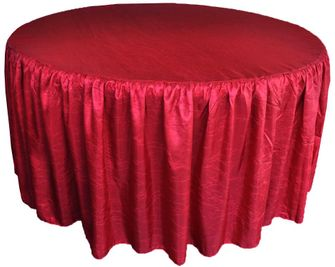 "72"" Round Ruffled Fitted Crush Taffeta Tablecloth With Skirt - Apple Red 63708 (1pc/pk)"