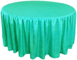 72? Round Ruffled Fitted Crush Taffeta Tablecloth With Skirt - Tiff Blue / Aqua Blue 63718 (1pc/pk)