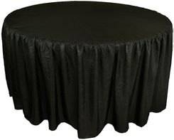 72� Round Ruffled Fitted Crush Taffeta Tablecloth With Skirt - Black 63739 (1pc/pk)