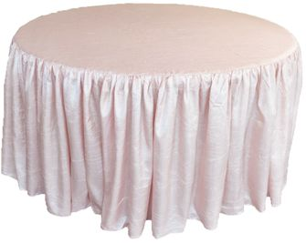 """72"""" Round Ruffled Fitted Crush Taffeta Tablecloth With Skirt - Blush Pink 63715 (1pc/pk)"""