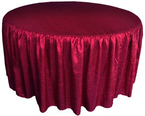 "72"" Round Ruffled Fitted Crush Taffeta Tablecloth With Skirt - Burgundy 63710 (1pc/pk)"