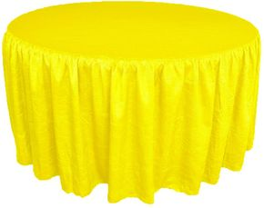 "72"" Round Ruffled Fitted Crush Taffeta Tablecloth With Skirt - Canary Yellow 63716 (1pc/pk)"