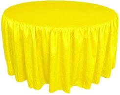 72� Round Ruffled Fitted Crush Taffeta Tablecloth With Skirt - Canary Yellow 63716 (1pc/pk)