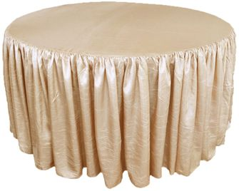 "72"" Round Ruffled Fitted Crush Taffeta Tablecloth With Skirt - Champagne 63728 (1pc/pk)"