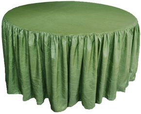 """72"""" Round Ruffled Fitted Crush Taffeta Tablecloth With Skirt - Clover 63748 (1pc/pk)"""