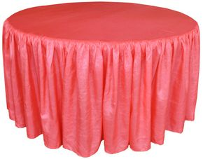 """72"""" Round Ruffled Fitted Crush Taffeta Tablecloth With Skirt - Coral 63706 (1pc/pk)"""