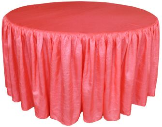 "72"" Round Ruffled Fitted Crush Taffeta Tablecloth With Skirt - Coral 63706 (1pc/pk)"
