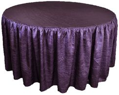 72� Round Ruffled Fitted Crush Taffeta Tablecloth With Skirt - Eggplant 63745 (1pc/pk)