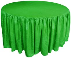 72� Round Ruffled Fitted Crush Taffeta Tablecloth With Skirt - Emerald Green 63738 (1pc/pk)