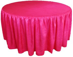 "72"" Round Ruffled Fitted Crush Taffeta Tablecloth With Skirt - Fuchsia 63709 (1pc/pk)"