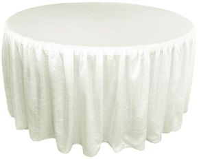 """72"""" Round Ruffled Fitted Crush Taffeta Tablecloth With Skirt - Ivory 63702 (1pc/pk)"""