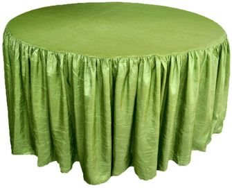 """72"""" Round Ruffled Fitted Crush Taffeta Tablecloth With Skirt - Moss Green 63717 (1pc/pk)"""