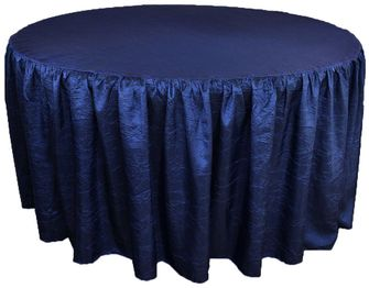 "72"" Round Ruffled Fitted Crush Taffeta Tablecloth With Skirt - Navy Blue 63723 (1pc/pk)"