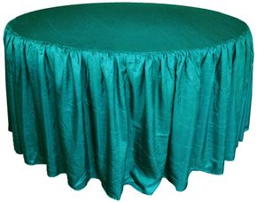 """72"""" Round Ruffled Fitted Crush Taffeta Tablecloth With Skirt - Oasis 63758 (1pc/pk)"""