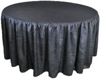 72� Round Ruffled Fitted Crush Taffeta Tablecloth With Skirt - Pewter / Charcoal 63760 (1pc/pk)