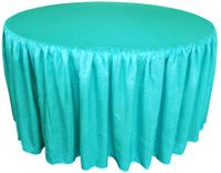 72� Round Ruffled Fitted Crush Taffeta Tablecloth With Skirt - Pool Blue 63778 (1pc/pk)
