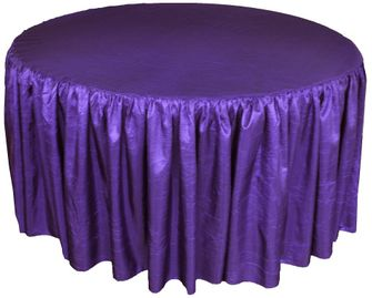 """72"""" Round Ruffled Fitted Crush Taffeta Tablecloth With Skirt - Regency 63763 (1pc/pk)"""