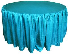 72� Round Ruffled Fitted Crush Taffeta Tablecloth With Skirt - Turquoise 63785 (1pc/pk)