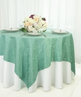 "72"" Square Damask Jacquard Polyester Table Overlays (14 Colors)"