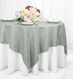 """72"""" Square Damask Jacquard Polyester Table Overlays (14 Colors)"""