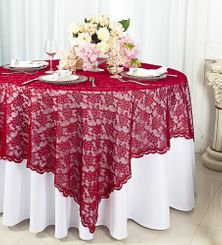 "72"" Square Lace Table Overlays - Apple Red 90708 (1pc/pk)"