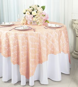 "72"" Square Lace Table Overlays - Apricot/Peach 90731 (1pc/pk)"