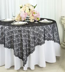 "72"" Square Lace Table Overlays - Black 90739 (1pc/pk)"