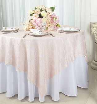 """72"""" Square Lace Table Overlays - Blush Pink 90715 (1pc/pk)"""