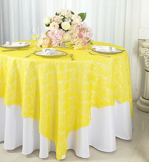 """72"""" Square Lace Table Overlays - Canary Yellow 90716(1pc/pk)"""