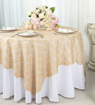 "72"" Square Lace Table Overlays - Champagne 90728(1pc/pk)"