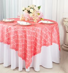"72"" Square Lace Table Overlays - Coral 90706 (1pc/pk)"