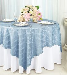 """72"""" Square Lace Table Overlays - Dusty Blue 90703 (1pc/pk)"""