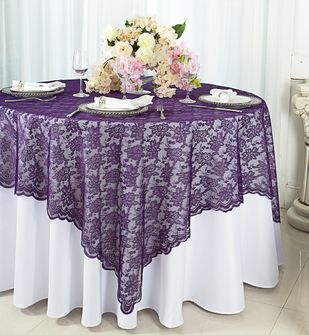"""72"""" Square Lace Table Overlays - Eggplant 90745 (1pc/pk)"""