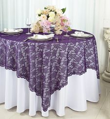 "72"" Square Lace Table Overlays - Eggplant 90745 (1pc/pk)"