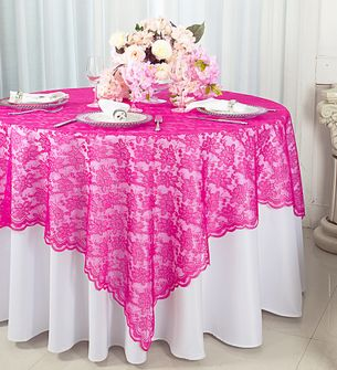 "72"" Square Lace Table Overlays - Fuchsia 90709 (1pc/pk)"