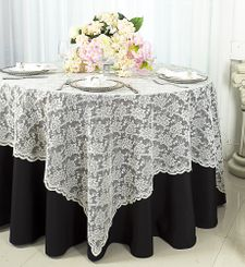 "72"" Square Lace Table Overlays - Ivory 90702 (1pc/pk)"